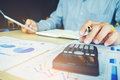 Business Man Accounting Calculating Cost Economic Concept Stock Photos - 96060353