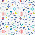 Nautical Seamless Pattern In Memphis Style. Royalty Free Stock Image - 96070676
