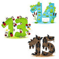 Set Of Numbers With Number Of Animals From 13 To 15 Stock Photos - 96080303