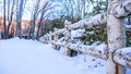 Wooden Fence With Heavy Snow Stock Image - 96088981