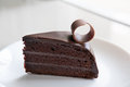 Tasty Dark Chocolate Cake On White Plate. Sliced Delicious Cocoa Royalty Free Stock Images - 96097649