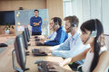 Manager With Business Team Working At Call Center Stock Images - 96100704