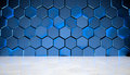 Blue Hexagon Background With Marble Floor Stock Image - 96101081