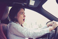 Young Woman Driving A Car Shocked About To Have Traffic Accident Royalty Free Stock Photo - 96108215