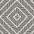 Vector Seamless Hand Drawn Pattern. Zigzag And Stripe Rough Lines. Tribal Design Background. Ethnic Doodle Texture. Royalty Free Stock Images - 96121139
