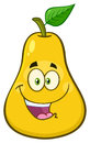 Happy Yellow Pear Fruit With Green Leaf Cartoon Mascot Character Royalty Free Stock Photo - 96127355