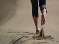 Bare Feet Of Young Woman Jogging/walking On The Beach Royalty Free Stock Image - 96133456