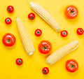 Above View At Tomatoes And Corn Royalty Free Stock Image - 96142046