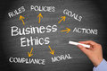 Business Ethics - Female Hand Writing Text On Chalkboard Stock Photo - 96149610