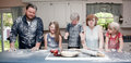 Family In Kitchen After Food Fight Royalty Free Stock Image - 96156906