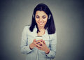 Happy Young Woman Listening To The Music On Mobile Phone Royalty Free Stock Image - 96159946
