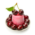 Fruit Ice Cream And Cherry Isolated On White Royalty Free Stock Photo - 96180595