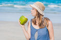 Attractive Young Woman Drinking Coconut Water On The Beach Royalty Free Stock Photography - 96197767