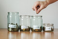 Distribution Of Cash Savings Concept. Hand Puts Coins To The Glass Money Boxes Stock Photo - 96201890