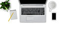 Top View Of Modern Laptop Computer, Notebook With Pencil, Empty Cup, Cell Phone And Flowerpot Isolated Over White Background. Work Stock Photo - 96203570