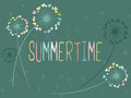 Summertime Vector Card With Dandelion Flowers Stock Photo - 96204620