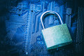 Padlock On Computer Motherboard. Internet Data Privacy Information Security Concept Stock Photo - 96215780