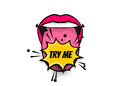 Comic Text Pop Art Tongue Mouth Girl Power Royalty Free Stock Image - 96219246