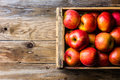 Full Box Of Fresh Red Apples. Top View, Copy Space. Harvest Concept Royalty Free Stock Photo - 96221785