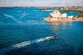 View Of The Blue Waters Of Sydney Harbour With Opera House. Royalty Free Stock Images - 96222899