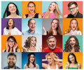 The Collage From Portraits Of Women With Smiling Facial Expression Stock Photo - 96241350