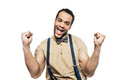 Cheerful African American Man Wearing In Suspenders And Bow Tie Celebrating Success Stock Photo - 96241840