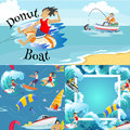 Set Of Water Extreme Sports Backgrounds, Isolated Design Elements For Summer Vacation Activity Fun Concept, Cartoon Wave Stock Photos - 96256393