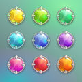 Beautiful Colorful Cartoon Crystal Round Buttons Set. Stock Images - 96256554