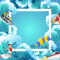 Set Of Water Extreme Sports Backgrounds, Isolated Design Elements For Summer Vacation Activity Fun Concept, Cartoon Wave Royalty Free Stock Images - 96257529