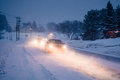 Blizzard On The Road During A Cold Winter Evening In Canada Royalty Free Stock Photography - 96269007