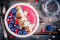 Raspberry Smoothie Bowl With Granola, Chia Seeds, Almonds, Fresh Blueberries And Pomegranate Stock Image - 96272421
