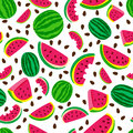 Vector Seamless Pattern With Fresh Watermelon  On White Background. Hand Drawn Doodle Illustration. Royalty Free Stock Images - 96289349
