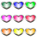Set Of Colored Buttons In The Shape Of A Heart Stock Photography - 96292912