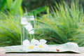 Close Up Glass Of Cold Water With Ice On Table With Blur Garden Royalty Free Stock Photography - 96304277