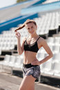 Sporty Girl On Stadion Stock Images - 96305724