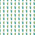 Bright Lovely Cute Sophisticated Beautiful Mexican Hawaii Tropical Floral Herbal Summer Green Pattern Of A Cactus Paint Like Child Stock Images - 96319254