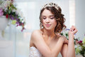 Portrait, Wedding Hair Style, Brunette With Curly Hair. Beautiful Girl In A Wedding Dress. Close-up Stock Image - 96320881
