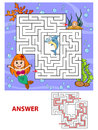 Help Mermaid Find Path To Pearl. Labyrinth. Maze Game For Kids Royalty Free Stock Photography - 96327387