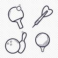 Games Linear Icons. Ping-pong, Golf, Bowling, Darts Leisure Activities. Gambling, Sport Game Line Icon. Stock Photos - 96332703