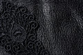 Detail Of Black Lace On Leather Stock Photo - 96335560