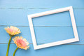Empty Frame And Flowers Flat Lay Stock Images - 96342854