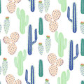 Various Cacti Desert Vector Seamless Pattern. Abstract Thorny Plants Nature Fabric Print. Stock Photography - 96349212