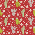 Cactus Desert Vector Seamless Pattern. Green And Grey Nature Fabric Print Texture. Stock Image - 96349291