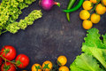 Set Organic Food. Fresh Raw Vegetables For Salad. On A Old Blue Background. Top View. Close-up Stock Image - 96354821