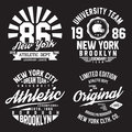 New York, Brooklyn Typography For T-shirt Print. Sports, Athletic T-shirt Graphics Set. Badge Collection Royalty Free Stock Photo - 96359885