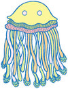 Vector Cartoon Jellyfish In Pastel Tumblr Colors Royalty Free Stock Image - 96367146