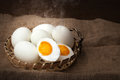 Salted Eggs, Boiled And Ready To Eat, Put On Basket, Blurred Background Stock Photo - 96376470