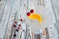 Vermouth Cocktail With Orange And Cherry Fruit In The Glass Royalty Free Stock Image - 96388246