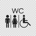 WC, Toilet Flat Vector Icon . Men And Women Sign For Restroom On Stock Photography - 96389882