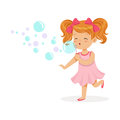 Happy Redhead Girl In Pink Dress Blowing Bubbles Vector Illustration Royalty Free Stock Photo - 96394105